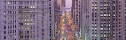 The Poster Corp Panoramic Images - Aerial View Of An Urban Street Michigan Avenue Chicago Illinois USA Photo Print (45,72 x 15,24 cm)