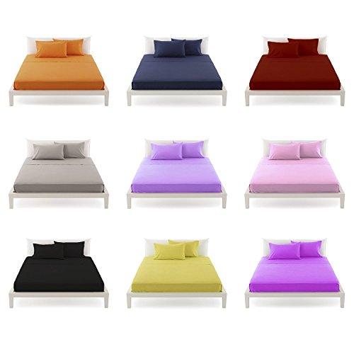 Completo letto Singolo Lenzuola 1 Piazza cotone 100% Colore ARANCIO