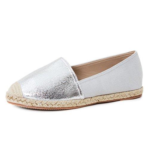Damen Espadrilles Low Top Sommer Slipper Sneaker Metallic Lederoptik Silber Lederoptik