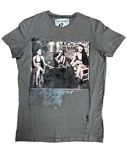 Religion Herren T-Shirt Strip Poker-Grau-M