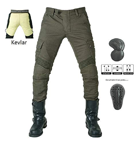 Pantaloni da Uomo per Moto - Kevlar - Jeans per Moto/Bici - verde (L- (Waist 34.5'))