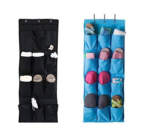 Borsa portaoggetti da parete Organizzatore, Armadio Organizzatore,Lino/cotone tessuto 12 tasche parete Porta armadio Hanging dellorganizzatore immagazzinaggio del sacchetto dellorganizzatore Nero