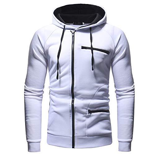 UJUNAOR Herren Winter Warme Sweatshirt Hoodie Kapuzenpullover Wintermantel Langarmjacke Mantel Outwear Jacke mit Kapuze(Weiß,L)