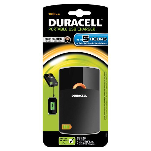 Duracell - Duralock - Chargeur Smartphone USB Portable - 5h - 1800 mAh