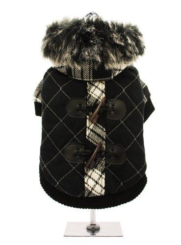 UrbanPup Luxury Black / White Duffle Coat with Detachable Hood ...