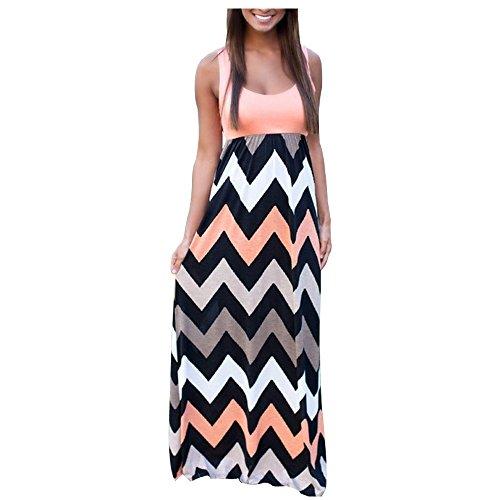 Belego Damen Striped Scoop Neck Chevron Drucken Maxi langes Kleid Abend Cocktailparty Kleid -