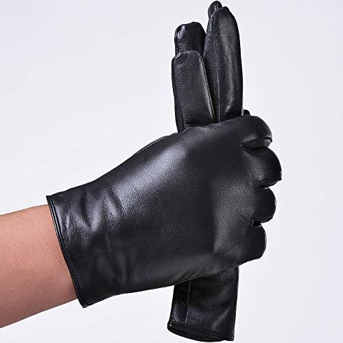 (CCMOO 2018 Männer Mode einfache kurze England russische Geschenk zeigen männliche Schaffell echtes Leder dünne kurze Handschuhe Winter-schwarz, L Geschenke)