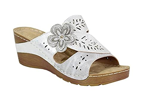 By Shoes - Mule Haute Style Cuir - Femme - Taille 37 - Silver
