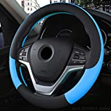 FJYDHR Custodia in pelle volante Coperchi universali Volante Car Styling Penna Coperchi sportivi Volante per auto, blu