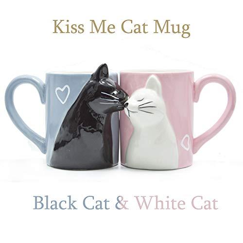 Beso gato Sistema taza pares café,Conjunto taza cerámica