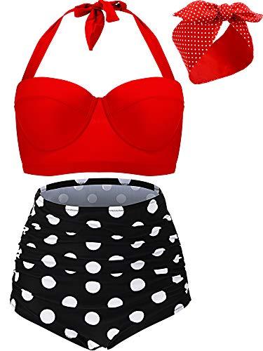Yaomiao Damen Vintage Retro Polka Hoch Taillierte Bügel Bikini 2 Stücke Badeanzüge mit Bügel Top Bikini Set mit Rote Retro Stirnband (XL)