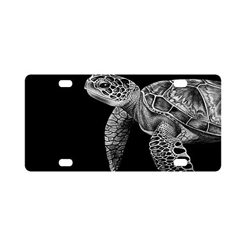 Black White Sea Turtle Art Strong and Durable Aluminum Car Metal License Plate for Car Four Car Tag 12