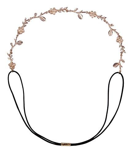 SIX Haarschmuck. elastisches Haarband mit roséfarbener Blumen-Kette mit Strass (252-826)
