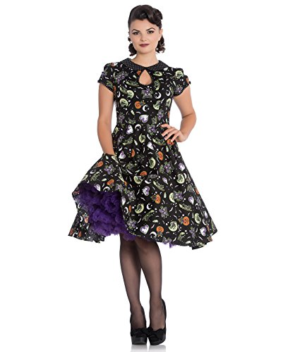 Hell Bunny Salem 50s Jahre Halloween Ghost PUMPKIN Kleid - Schwarz, UK 10 (S)