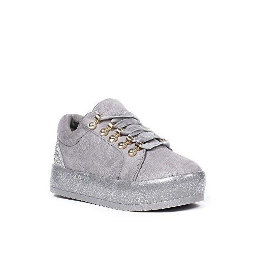 Ideal Shoes - Baskets basses effet daim avec lacets velours Rosela Gris