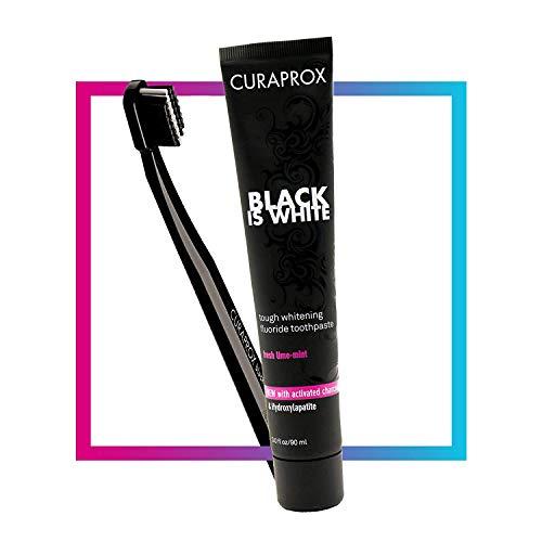 CURAPROX Black is White Set  für weiße Zähne, Zahnaufhellung mit schwarzer Zahncreme aus Aktivkohle, whitening toothpaste, 1x Zahnbürste und Zahnpasta 90ml