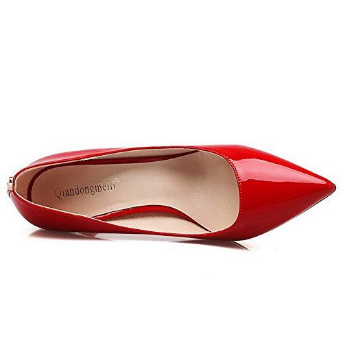 AalarDom Femme Stylet Pointu Tire Matière Souple Chaussures Légeres Rouge-Métal