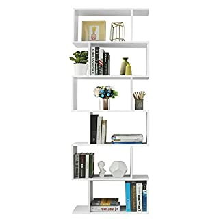 VASAGLE Bibliothèque en Bois Étagère de 6 Niveaux contemporaine Cloison pour séparer la pièce Meuble Rangement Couleur Blanche LBC61WT
