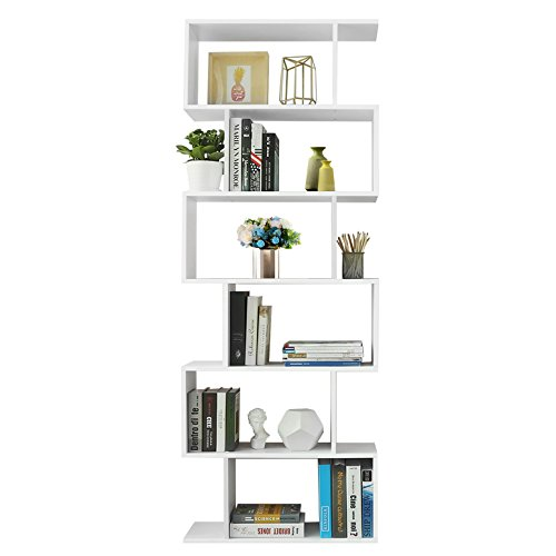 Songmics libreria in legno, scaffale a ripiani e divisore d'interni, mobile guardaroba contemporaneo decorativo autoportante a 6 livelli, bianco, lbc61wt