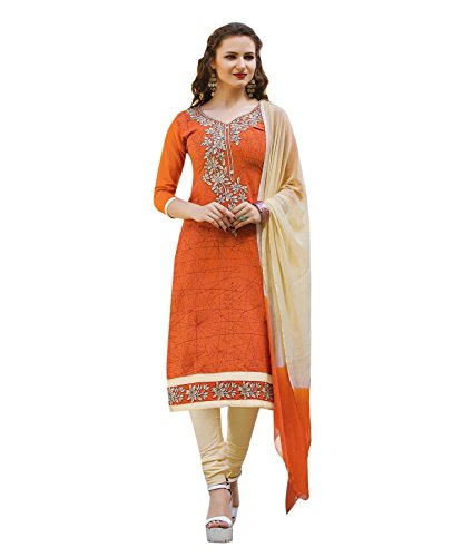 Oomph! Women's Unstitched Cotton Salwar Suit Dupatta Material - Yam Orange