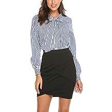 Mujer Camisas Fiesta Manga Larga Casual Blusas con Pajarita Negra Blancas Azul Claro