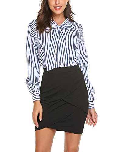 Damen Bluse Chiffon Langarm Elegant Oberteile Business Vintage Fliege Hals Hemd T-Shirt Tunika Schwarz Weiß Blau (Large, Gestreift-Type2)