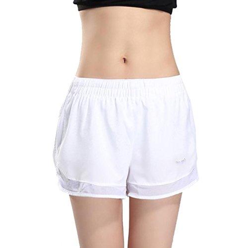 Wgwioo Frauen Yoga Shorts Sport Laufen Mesh Fitness Studio Hosen Stretch Fitness Tanzen Workout / Pack Von 2 / . White . L (Workout-shorts Frauen-pack Für)