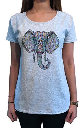 Irony Camiseta para Mujer con Estampado étnico Hermoso Elefante TS1576