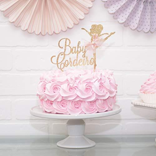 abyparty-Kuchen-Deckel-Dekoration f¨¹r das rosa und Goldballett-Thema personalisiert ()