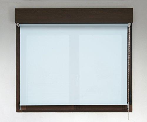 Estor enrollable TRANSLÚCIDO PREMIUM (desde 40 hasta 300cm de ancho / permite paso de luz, no permite ver el exterior/interior). Color azul claro. Medida 156cm x 240cm para ventanas y puertas