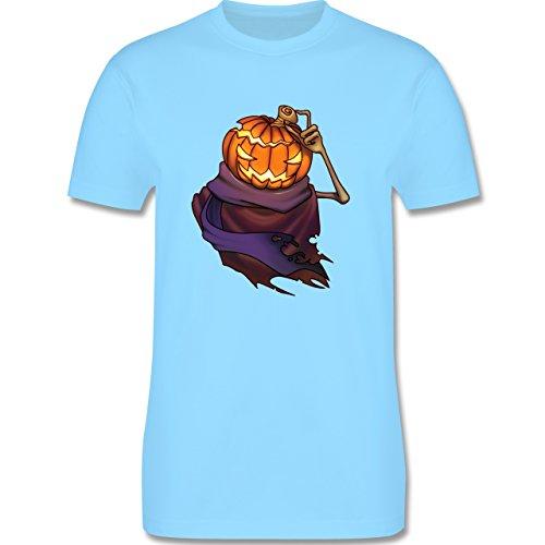 Halloween - Kürbiskopf - Herren Premium T-Shirt Hellblau