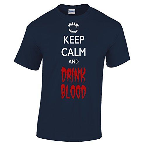 ie Ruhe und Trinken Blut Halloween Scary Kostüm Lustige Fangs Herren T-Shirt (Fang Des Tages Kostüme)