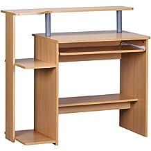 Wohnling WL1.163 Dennis - Mesa para ordenador (con varias baldas, 94 x 90 x 48 cm), aspecto de madera de haya