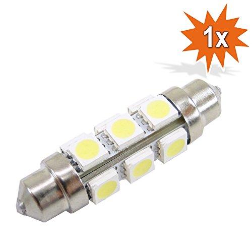 LED 6V 18W Soffitte Lampe Birne 42mm Xenon Weiss (Weiße Led-soffitte)