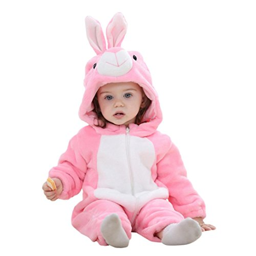 Grenouillères Bébé, Morwind Fille Garçon Petit Animal Capuche Super Doux Vêtements Rompers avec Chapeau Jumpsuits à Manches Longues Lapin