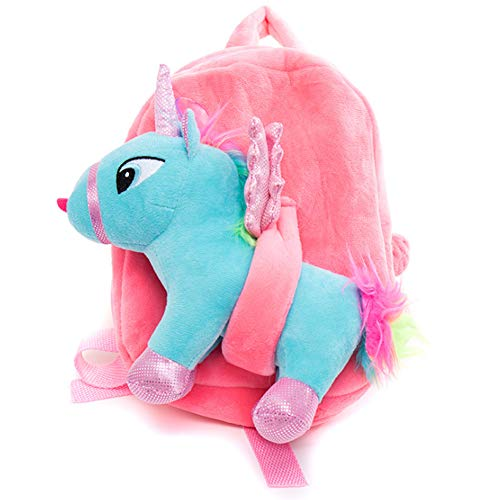 Uniuooi Einhorn-Rucksack für Kindergarten, Schultasche, kleine Mädchen, Alter 1-2-3 Jahre, Geburtstagsgeschenk für Kleinkinder, Kinder Pink + Blue 3D Unicorn S - Fünf Jahr Alt Puppen Für
