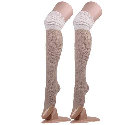Feste Oberschenkel Hohe Socke (Vkospy Splicing Hohle Frauen Knit Lange Tights Hoch Oberschenkel Socken Stiefel Pile Mädchen Stocking)