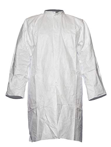 DuPont Tyvek 500 Laborkittel mit Druckknöpfen und Taschen 10 Stk. Laborkittel zur Ergänzung von Schutzkleidung PSA Kategorie Weiß Größe L