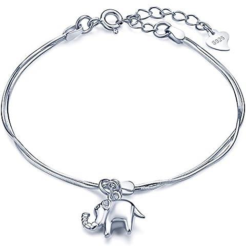 Unendlich U Süß Elefant Mädchen Charm-Armband 925 Sterling Silber Doppel Armkette Verstellbar Armkettchen, (Halskette Doppel-strang-halskette)