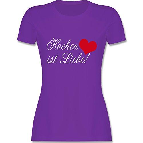 Küche - Kochen ist Liebe - tailliertes Premium T-Shirt mit Rundhalsausschnitt für Damen Lila