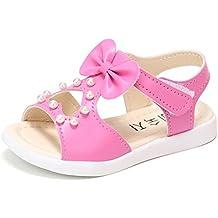 dc68161d7da OHQ Les Enfants D éTé Perle Aiment Bow Sandales Chaussures De Plage Rome  Rose Vif