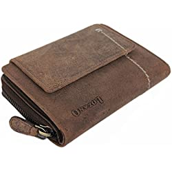 Leder Geldbörse Damen große Portemonnaie Portmonee Kreditkartenetui vintage Kartenetui XL Geldbeutel Reisebrieftasche Travel Organizer aus hochwertigem Echt-Leder braun 30005A