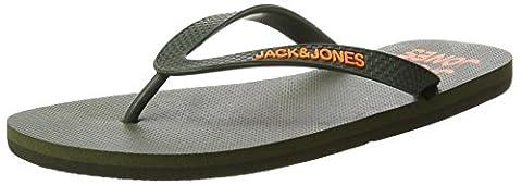 JACK & JONES Men's Jfwpalm Flip Flop Pack Open Toe Sandals, Green (Deep Lichen Green), 10 UK