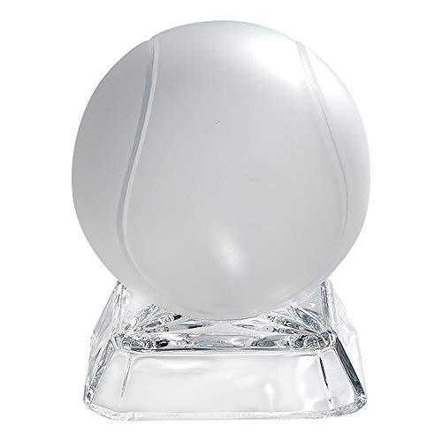 Barski Briefbeschwerer, Tennisball, auf Sockel, Glas, mattiert, geätzter Tennisball, durchsichtiger quadratischer Boden, Tischdekoration oder Tischdekoration, hergestellt in Europa -