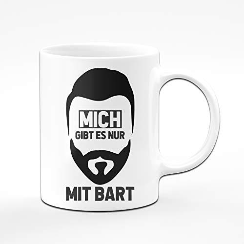Tassenbrennerei Tasse mit Spruch Mich gibt es nur mit Bart - Kaffeetasse für bärtige Männer Geschenk für Mann, Freund Tassen mit Sprüchen lustig (Weiß)