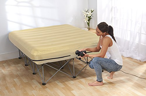 Starry Night Deluxe Lightweight Folding Inflatable Bed Double Guest with Frame - Cream.