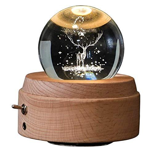 SUZHENACaja de musicaCaja de música de Bola de Cristal 3D Caja Musical giratoria Luminosa de Ciervo con luz led de proyección, Amarillo