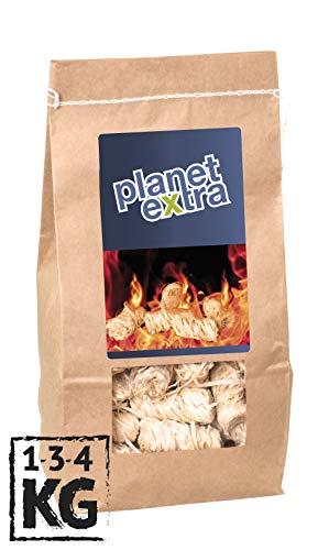 planetextra Kamin-Anzünder und Grill-Anzünder Ofen-anzünder Anzündwolle Anzündhilfe aus Bio Holz-Wolle und Wachs - schnell & umweltfreundlich (1 kg)