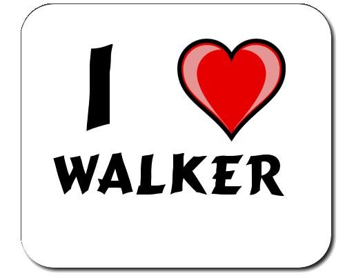 Mauspad mit Aufschrift Ich liebe Walker (Vorname/Zuname/Spitzname) (Liebe Walker)