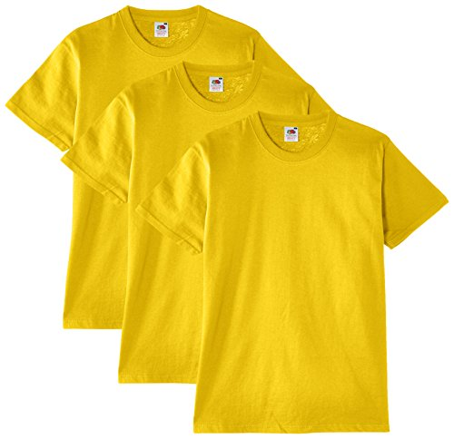 Fruit of the Loom Herren T-Shirt 3er Pack Gelb (Yellow K2)